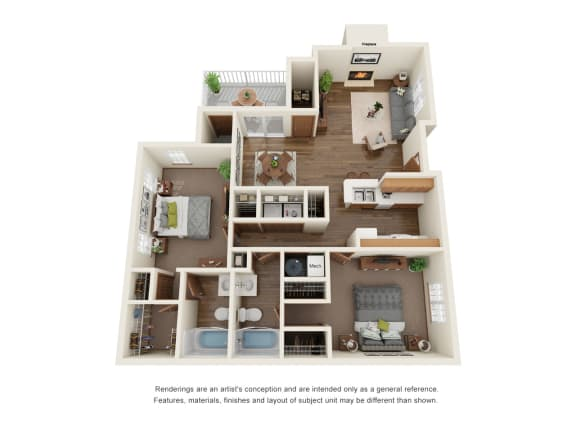 Floor Plan  Two bedroom apartment floorplan layout, opens a dialog.