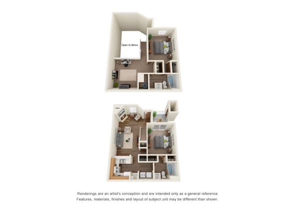 Floor Plan  Two bedroom two bath townhome floorplan layout, opens a dialog.