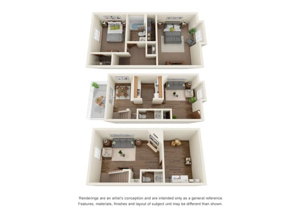 Floor Plan  Two bedroom townhome floorplan with basement, opens a dialog.