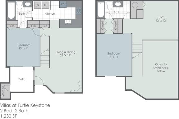 Floor Plan  Two bedroom townhouse floorplan layout, opens a dialog.