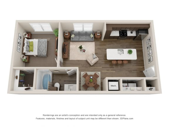 Floor Plan  1 Bedroom Apartments For Rent in Colorado Springs CO 80924