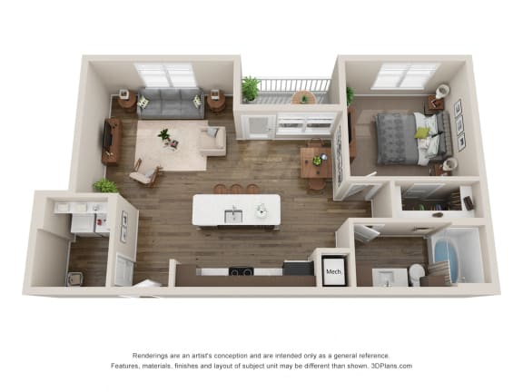Floor Plan  1 Bedroom Apartment in Colorado Near I-25, opens a dialog.