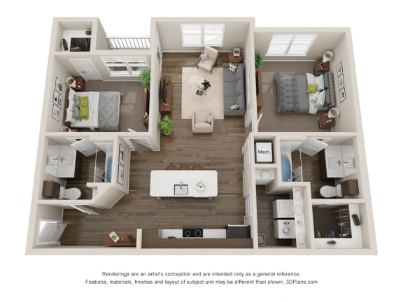 Floor Plan  2 Bedroom Luxury Apartment Rental Colorado Springs, opens a dialog.
