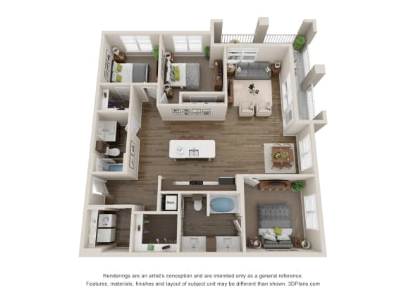 Floor Plan  Colorado Springs 3 Bedroom Apartments for Rent Near Northgate CO, opens a dialog.