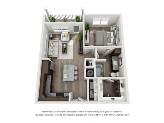 Floor Plan  1 Bed 1 Bath Floor Plan A1A at The Luminary at 95, West Melbourne, FL, 32904