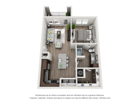 Floor Plan  1 Bedroom 1 Bathroom Floor Plan A2A at The Luminary at 95, West Melbourne, FL