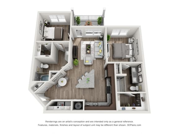Floor Plan  2 Bedroom 2 Bathroom Floor Plan B1A at The Luminary at 95, West Melbourne