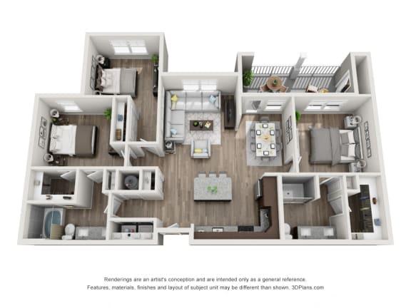 Floor Plan  3 Bed, 2 Bath Floor Plan C1A at The Luminary at 95, Florida, 32904
