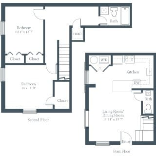 Floor Plan  2 Bedrooms, 1 Bathroom