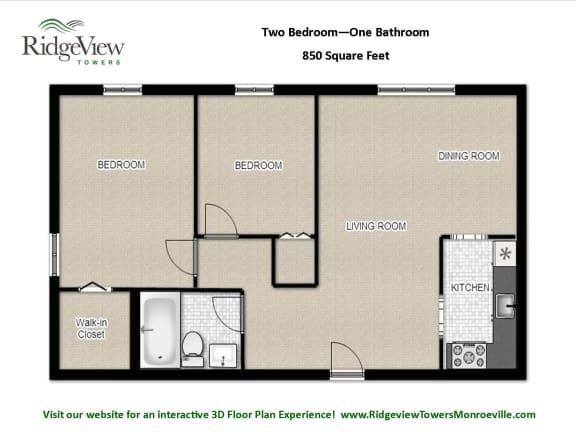 Floor Plan  2 Bedrooms 1 Bathroom