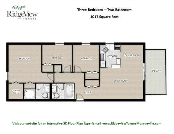 Floor Plan  3 Bedrooms 2 Bathrooms