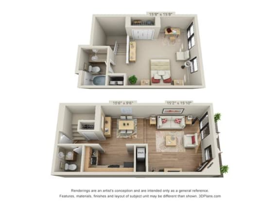 Floor Plan  1 Bed, 1.5 Bath