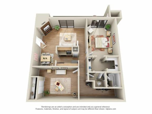 Floor Plan  1 Bed, 1 Bath