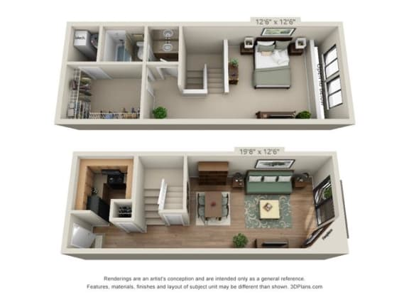 Floor Plan  1 Bed 1 Bath B
