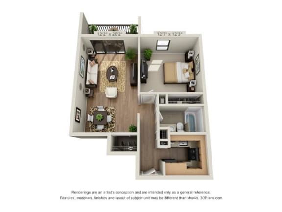 Floor Plan  1 Bed, 1 Bath Small