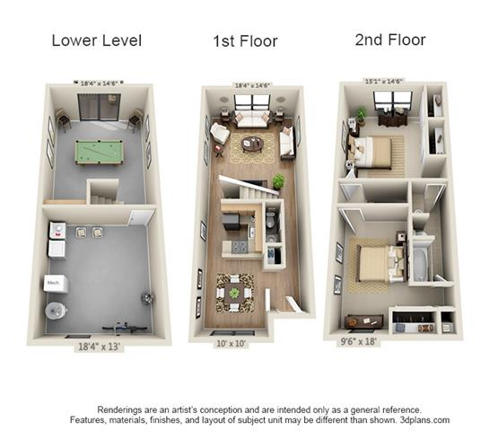 Floor Plan  2 Bed, 1.5 Bath TH