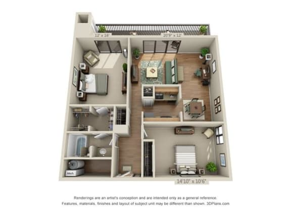 Floor Plan  2 Bed, 1 Bath