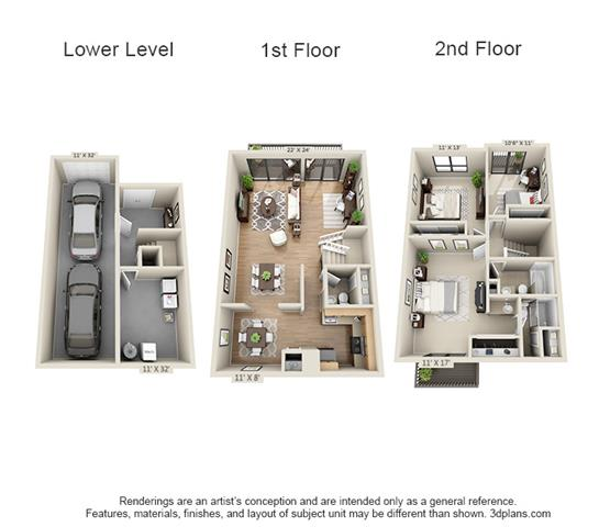 Floor Plan  3 Bed, 2.5 Bath TH