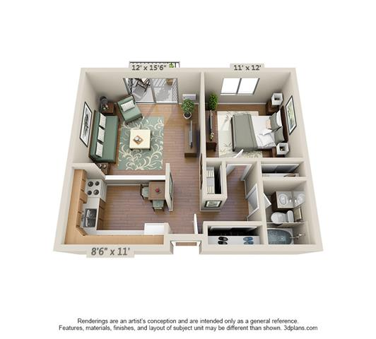 Floor Plan  1 Bedroom (Large)