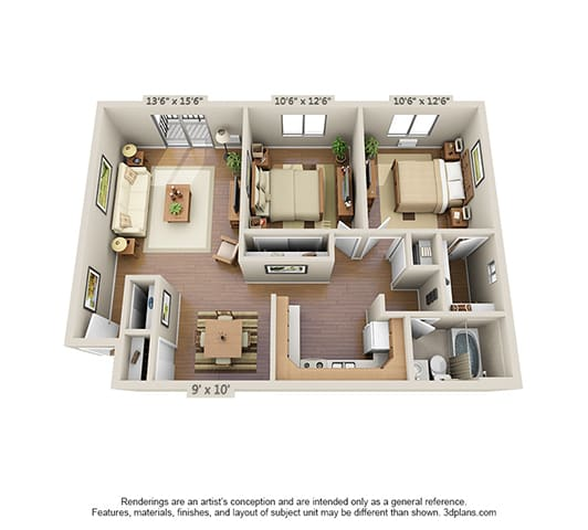 Floor Plan  2 Bedroom (Large)