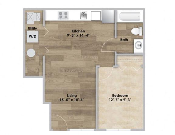 Floor Plan  1 Bedroom - First Floor Style 101