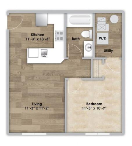 Floor Plan  1 Bedroom - First Floor Style 102