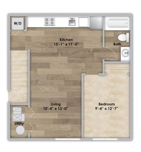 Floor Plan  1 Bedroom - Second Floor Style 103