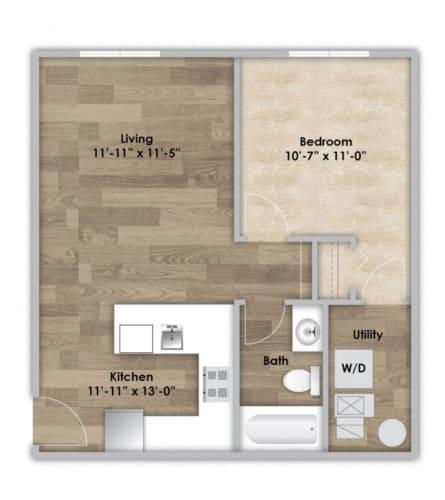 Floor Plan  1 Bedroom - Second or Third Floor Style 104
