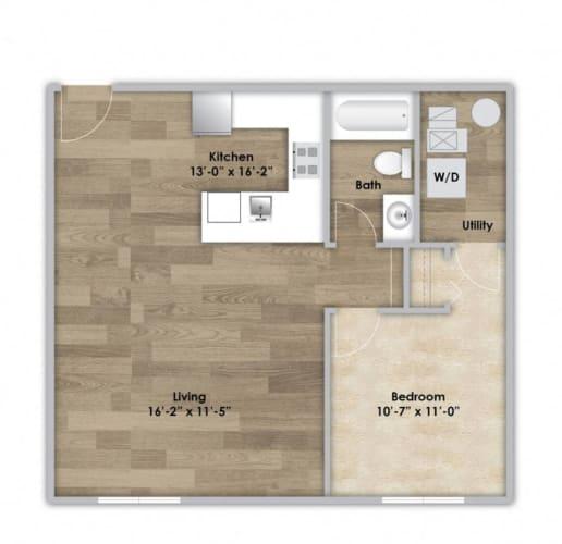 Floor Plan  1 Bedroom - Second or Third Floor Style 106