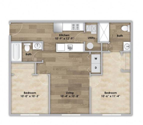 Floor Plan  2 Bedroom - First Floor Style 205