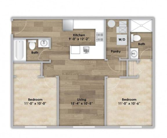 Floor Plan  2 Bedroom - Second or Third Floor Style 202