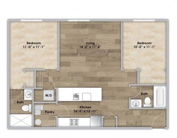 Floor Plan  2 Bedroom - Second or Third Floor Style 201