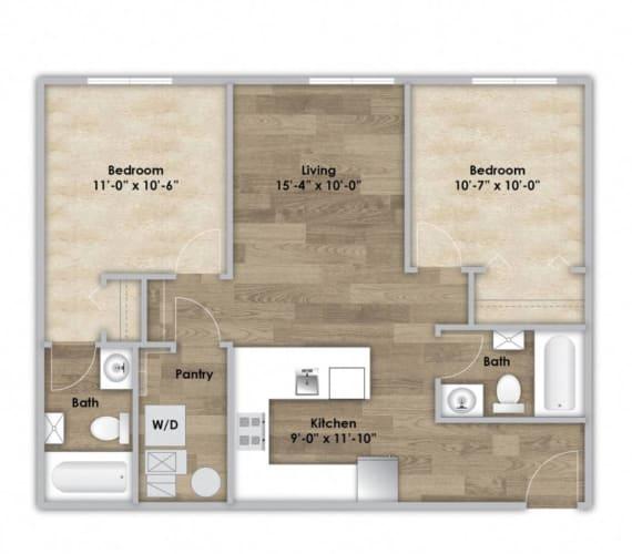 Floor Plan  2 Bedroom - Second or Third Floor Style 204