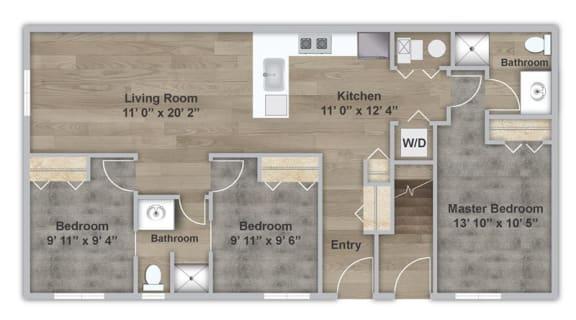 Floor Plan  Three Bedroom - First Floor