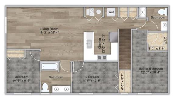 Floor Plan  Three Bedroom - Second Floor