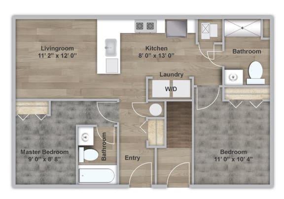 Floor Plan  Two Bedroom - First Floor - ADA Modified