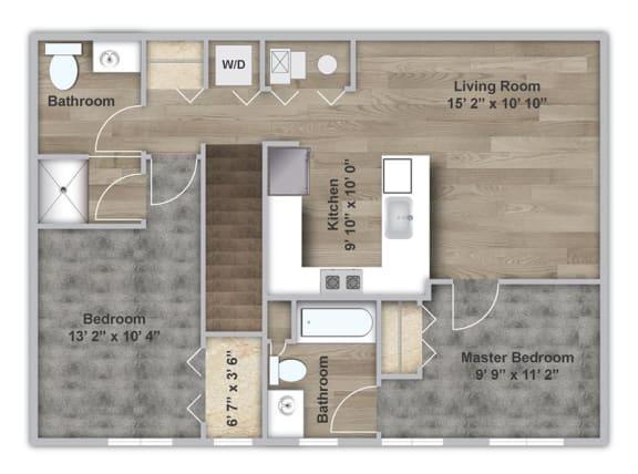 Floor Plan  Two Bedroom - Second Floor