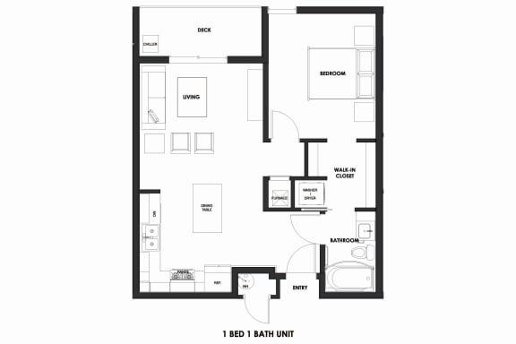 Floor Plan  1BR/1BA 25% AMI HOME Millcreek Station