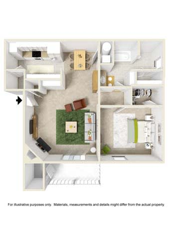 Floor Plan  1 Bedroom - Phase I