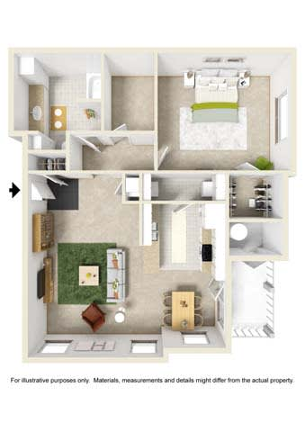 Floor Plan  1 Bedroom w/Study - Phase II