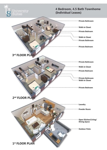 Floor Plan  4 Bedroom, 4.5 Bath Classic Townhouse Furnished