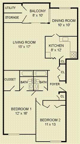 Floor Plan  2 Bed 2 Bath Floor Plan at The Commons of McLean, Virginia, 22102