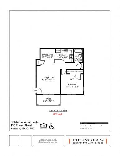 Floor Plan  1 bedroom apartment Hudson, MA
