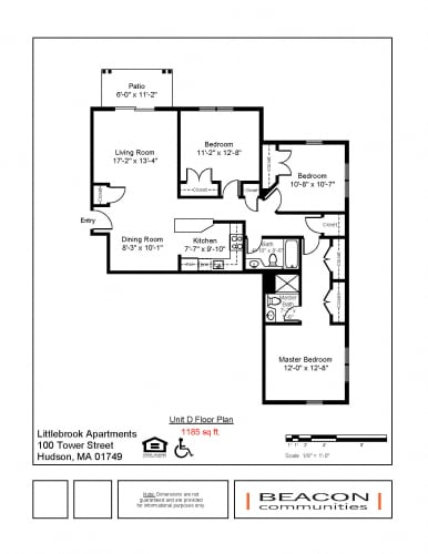 Floor Plan  3 bedroom apartment Hudson, MA