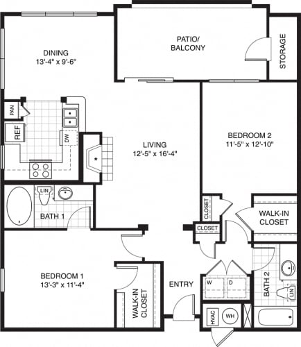 Floor Plan  2 bed 2 bath apartments for rent