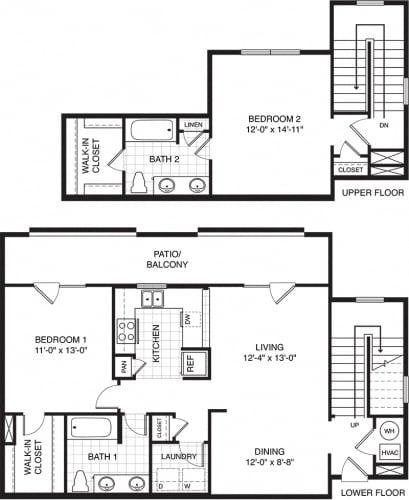 Floor Plan  2 bed 2 bath townhouses Villa Park IL