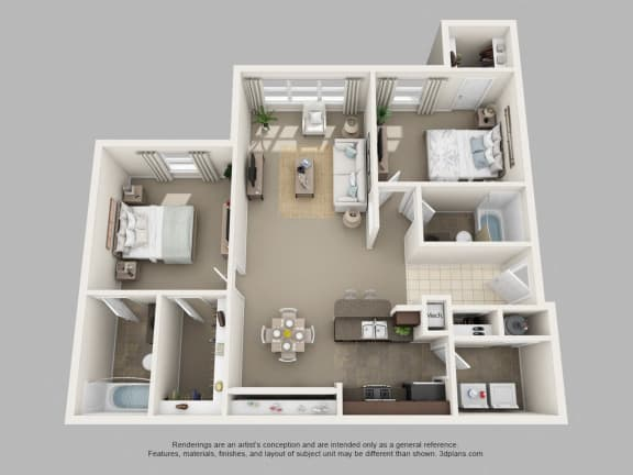 Floor Plan  2 Bedroom & Den