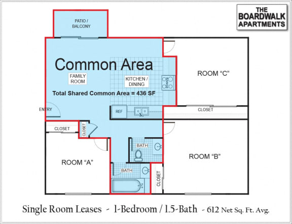 Floor Plan  Single Room (NC) w/Shared Common Areas
