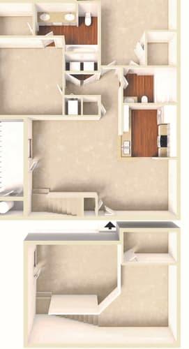 Floor Plan  Azalea -2BD 2BTH LOFT