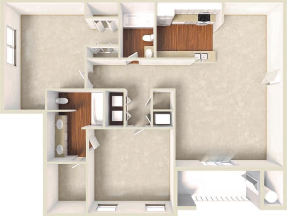 Floor Plan  Iris -2BD 2BTH
